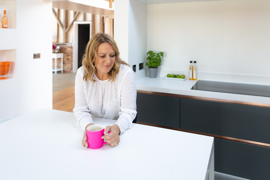 A candid lifestyle headshot and portrait of a Suffolk businesswoman