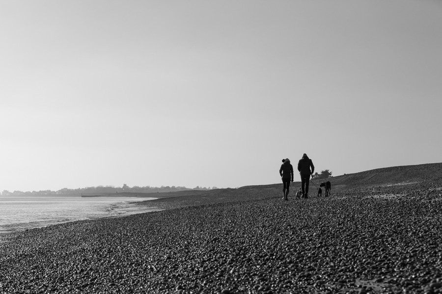 mono landscape photograph of Aldeburgh beach