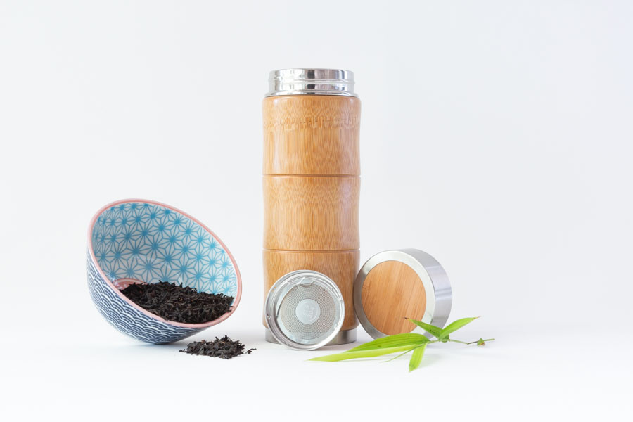 White Background Product Photography of bamboo flask