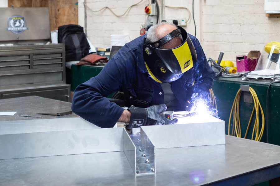 Professional images of welding for a local Suffolk sign making business