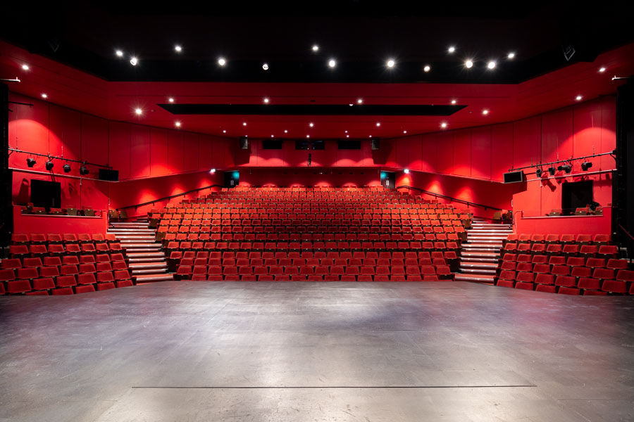 Interior photograph of the Mercury Theatre from the stage