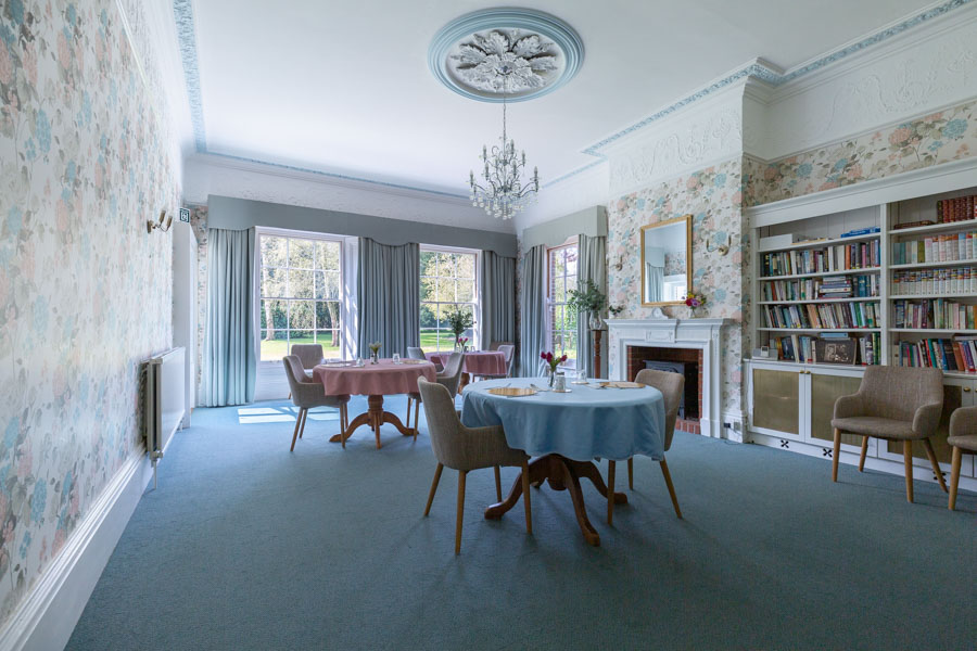 Interior Photograph of a Dining Room in Blue