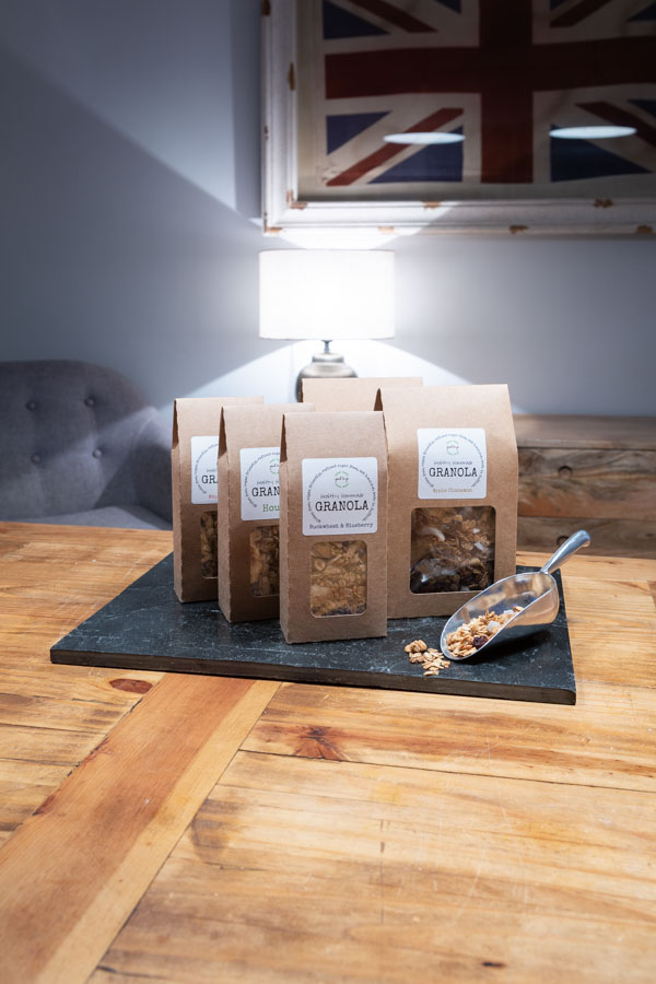 Granola in packets lifestyle food product photography