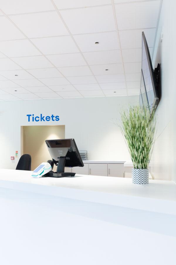 Reception ticket area at The Mercury Theatre