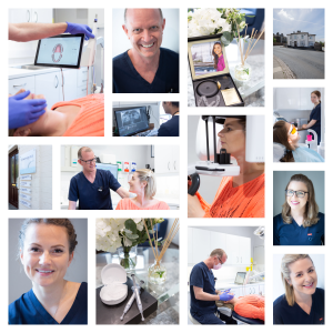 Collage of photographs showing people at the dentists
